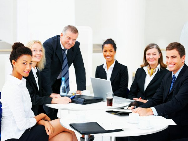 Diverse business group meeting
